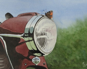 Motorcycle with peacock butterfly, watercolor art print, limited edition