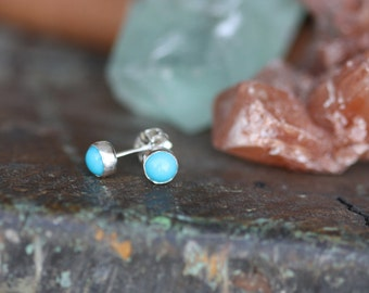 Sleeping Beauty Turquoise and Sterling Silver earrings with sterling posts