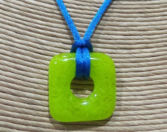 Lime Green Square Necklace, Fused Glass Pendant, Neon, Ready to Ship, Fused Glass Jewelry, Donut Pendant  - Neon Grace - 4411 -3