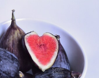 Fig Print, Food Photography, Rustic Kitchen Decor, Still Life Photography, Food Print, Heart, Valentine, Pink Red Wall Art