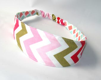 Adult Headband, Womens Headband, Fabric Headband, Reversible Headband for womens, Women Hairband Pink Chevron, Hair Fashion Accessories