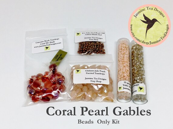 Coral Pearl Gables Bead Kit, Beads Only, Coral Pearl Gables Featured in Kumihimo Fiber and Bead Jewelry Magazine May 2016