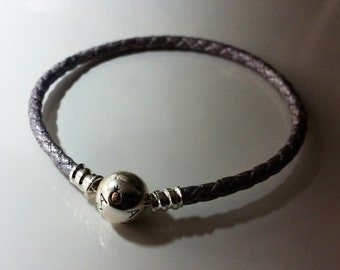 Pearlescent Silver Sparkle Colour Braided Leather Handmade Bracelet