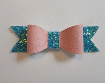Pink and Blue Small Classic Bow
