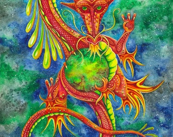 Chinese Dragon -  Watercolour Print