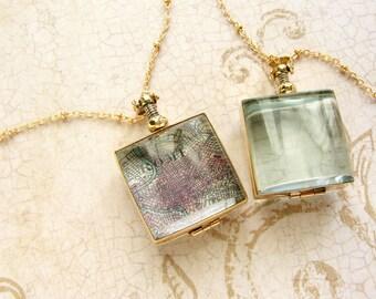Beveled Square Glass locket pendant, personalized jewelry, Personalized gift square glass locket, custom map locket, gift for her