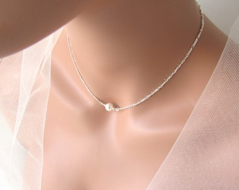 Single Pearl Choker Necklace Sterling Silver, Maid of Honor Thank You Gift, Maid of Honor Gift Necklace, Maid of Honor Proposal Gift