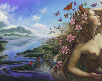 Goddess Art Pagan Art Fairy Art Fantasy Art Print Mother Nature Gaia