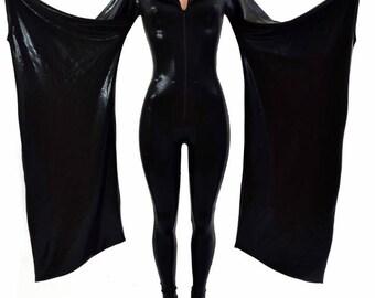 Sleek Black Mystique Metallic Kimono Sleeve Zipper Front Hooded Catsuit  Zen Hoodliner Cosplay Costume - 154417