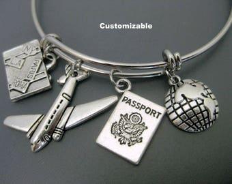 Wanderlust / Flight Attendant / Travel Bracelet / Expandable Bangle  / Adjustable Charm Bracelet   /Globe Plane Passport Luggage