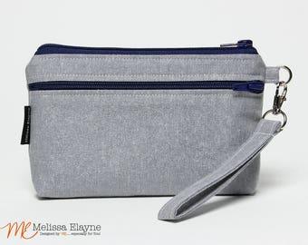 Gray/Silver Sparkle, Large Wristlet Wallet, iPhone 8 Plus Wristlet