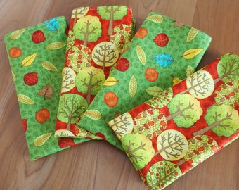 Mix and Match Napkins (4) with Apple Trees and Falling Leaves in Red, Yellow and Green, Fall Thanksgiving Napkins, Fall Fun Fabric