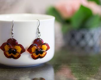 Dark red pansy flower earrings. Comes in a jewellery box, amazing gift