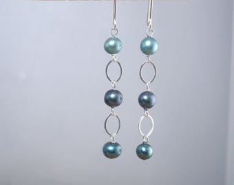 Teal Pearl Earrings Silver Teal Dangle Long Dangle Drop Blue Green Silver Dangle 3 Shades of Teal Aqua Pearl Drops for Her Freshwater Pearl