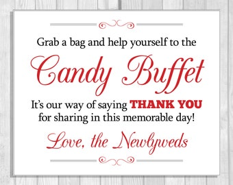 SALE Grab a Bag and Help Yourself to the Wedding Candy Buffet Printable 8x10 Black and Red Digital Sign - Instant Download