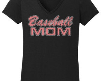 Baseball Mom Rhinestone T-Shirt Made to order