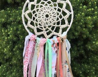 "Dream Catcher, Boho style Coral and Aqua dreamcatcher 6"" handmade Party Decoration or Room Decor.  CUSTOM COLORS also available"