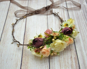 Woodland Flower Crown Head wreath Flower halo Floral Hair piece Valentine Gift Bridal Flower Halo Flower girl hair piece Bridal flower crown