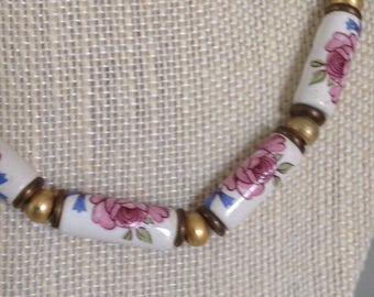 Vintage Porcelain Painted Roses Tube Beaded Necklace with Hook Enclosure| Necklace for High Tea | Garden Tour Luncheon