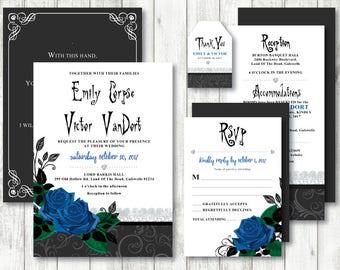 Corpse Bride 'Blue Rose' Theme *Printable Wedding Invitation* Corpse Bride Wedding // Save The Date // Gothic // Black & White // CUSTOM