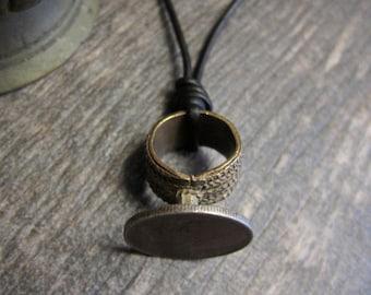 Men's Necklace,Mens Leather Necklace,Ethiopian Ring Necklace,Leather Necklace,Mens Jewelry,Mens Necklace,African Jewelry,Ethiopian Pendant