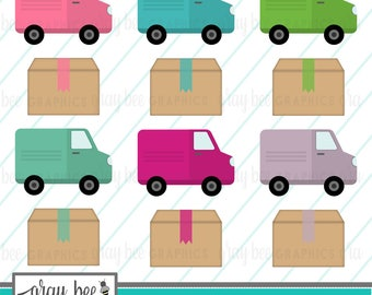 SALE! Delivery Truck & Package Clipart Set, Commercial Use, Instant Download, Digital Clipart, Digital Images-MP240