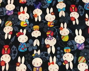 Japanese Anime - Bunnies Black - Cotton Woven