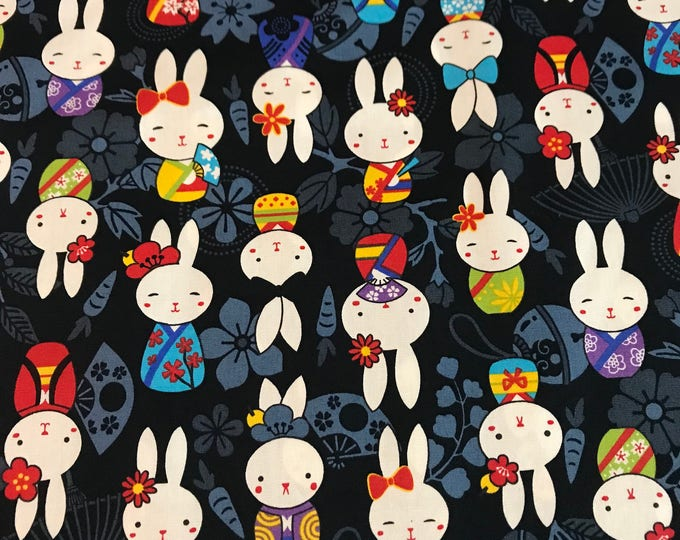 Japanese Anime - Bunnies Black - Cotton Woven