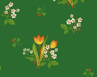 Heather Ross Kinder Fabric, floral print on green, Windham Fabrics SKU 43482-6, half yard quilting cotton, flower fabric, floral fabric