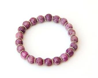 lepidolite bracelet, love bracelet, lepidolite jewelry, peace bracelet, eternal love, lepidolite jewelry, pink lepidolite stones