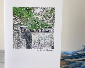 UNC CARD, UNC Forest Theatre, Tarheels Cards, North Carolina cards, Set Five Cards, Gift Set Cards, Blank Greeting Card, Watercolor Card