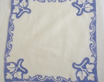 Vintage Lavender with Top Stitched Leaves Hanky