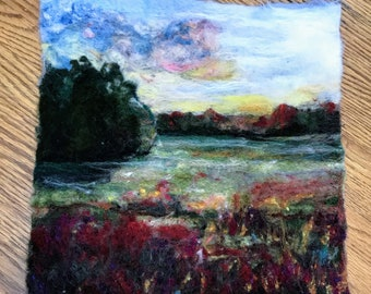 Summer Fields -Felted Wool Landscape Painting
