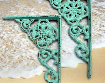 "Wall Bracket Cast Iron Shelf Ornate 4 5/8"" x 6 3/8"" Brace Light Beach Blue Cottage Chic Floral 1 Pair 2 individual brackets Shabby DIY"