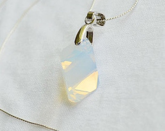 Geometric Swarovski Necklace, White Opal Swarovski Necklace, Bridal necklace, Swarovski Jewelry