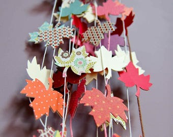 Custom paper garland - Maple leaves - Decor for Christmas, wedding, party, nursery