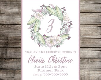 Watercolor Floral Printable Party Invitation // Birthday // Baby Shower