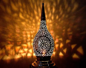 EXOTIC MOROCCAN LIGHT Beautiful Silver Handmade Table Lamp, Moroccan Lighting, Vintage Lamp, Moroccan Lights, Moroccan Decor, Boho Light
