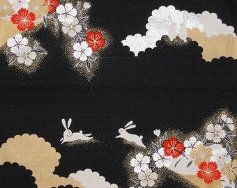 Furoshiki Fabric 'Elegant Rabbits and Sakura' Cotton Japanese Fabric Black and Silver 50cm w/Free Insured Shipping