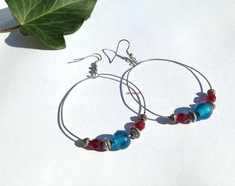 Silver Pearl hoop earrings with glass