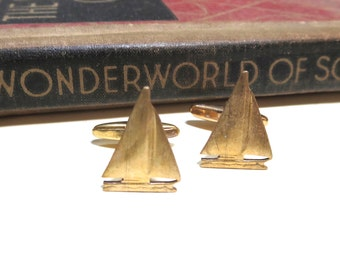 Raw Brass Sailboat Cuff LInks - Sailing - Nautical - Navy - Yacht - Sail Boat Cufflinks - Antiqued Silver - Soldered