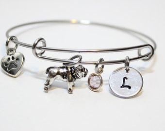 bulldog bangle, bulldog bracelet, bulldog jewelry, bulldog theme bracelet, bulldog initial bracelet, dog lover bangle, dog lover gift