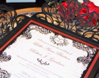GOTHIC ROMANCE -  *Sample* Shimmering Black Laser Cut Folder with Dark Crimson Red layer and Shimmery White Rennaisance Wedding Invitation