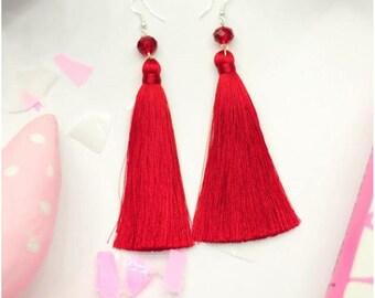 Earrings tassel, Long red Earrings, chandelier earrings, dangle earrings, drop earrings, bohemian earrings, fringe earrings