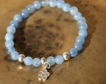 Bracelet with charm and aquamarine beads