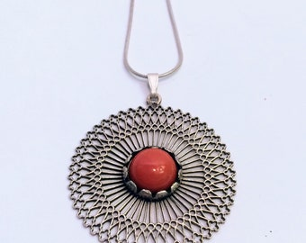 Vintage sterling silver necklace & pendant with blood coral
