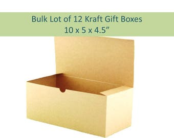 "12 Kraft Gift Boxes - 10"" x 5"" Natural Brown Boxes for Rustic Wedding Favors, Champagne Flutes Wine Glasses Gift Box Bulk Lot 12 Favor Boxes"