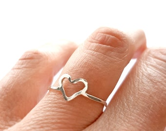 Rings for Girlfriend, Tiny Heart Ring, Simple Promise Ring for Her, Dainty Ring, Minimalist Ring, Delicate Ring, Open Heart Ring