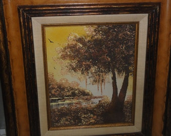 Vintage Oil on Canvas/ Swamp/Birds/ Tree/Signed Perez