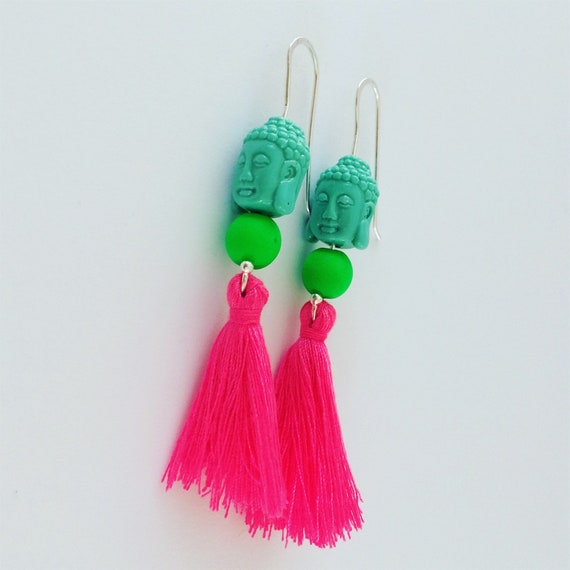 Buddha Tassel Neon Earrings - Sterling Silver - Festival - Dangle - Party - Boho - Statement -